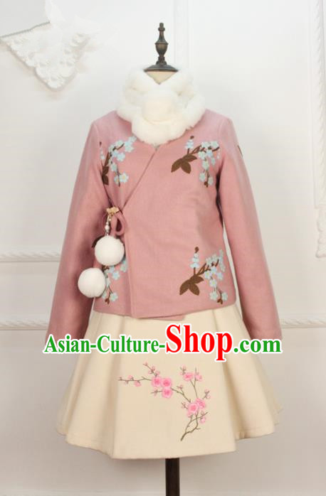 Traditional Classic Women Clothing, Traditional Chinese Classic Woolen Dress Embroidered Pleated Skirt, Chinese Han Dynasty Restoring Ancient Wool Short Skirt for Women
