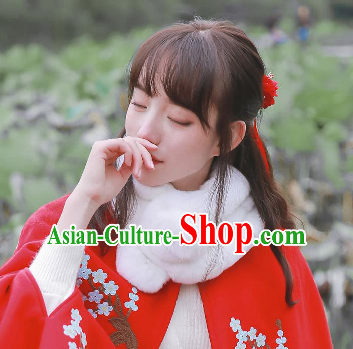 Traditional Classic Chinese Rabbit Fur Collar, Hanfu Han Dynasty Neckerchief for Women