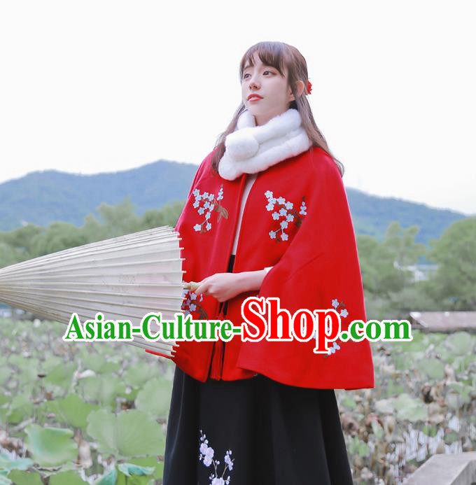 Traditional Classic Women Clothing, Traditional Classic Chinese Woolen Cloak, Chinese Ancient Style Embroidered Wool Cape for Women