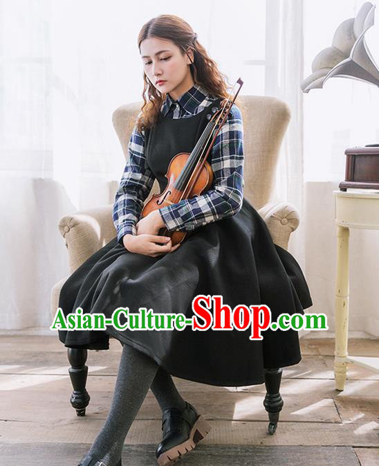 Traditional Classic Women Clothing, Traditional Classic Woolen One-piece Dress, British Restoring Ancient Vest Wool Long Skirt Complete Set for Women