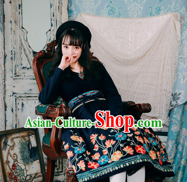 Traditional Classic Women Clothing, Traditional Classic Chinese Restoring Ancient Woolen Dress, Wool Embroidered One-Piece Skirt for Women