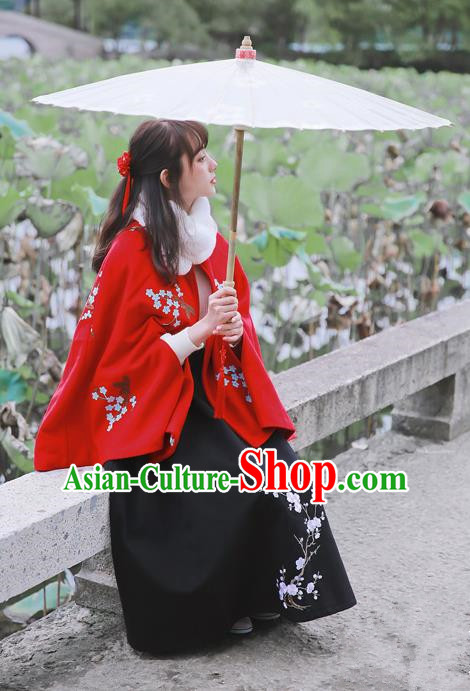 Traditional Classic Women Clothing Embroidered Cloak, Traditional Classic Chinese Restoring Ancient Hanfu Cape for Women