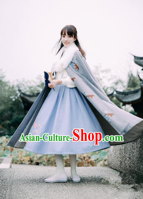 Traditional Classic Women Clothing Embroidered Cloak, Traditional Classic Chinese Restoring Ancient Hanfu Long Cape for Women