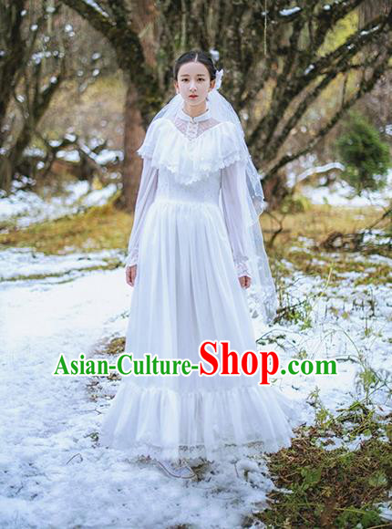 Traditional Classic Women Clothing, Traditional Classic Palace Lace Long-Sleeved Dress Long Skirts for Women