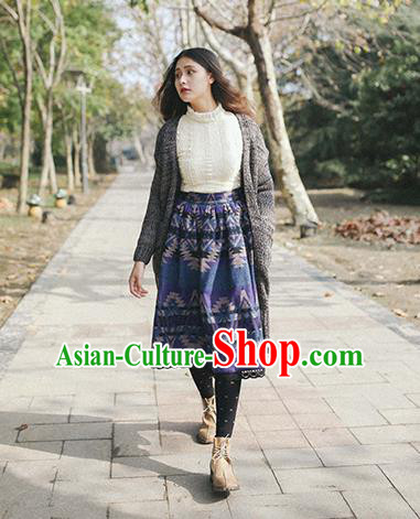 Traditional Classic Elegant Women Costume Woolen Half Skirt, Restoring Ancient Princess Wool Dress for Women