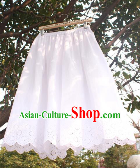 Traditional Classic Chinese White Silk Pajamas Heavy Lace Embroidery Evening Dress Restoring Garment Skirt Braces Skirt