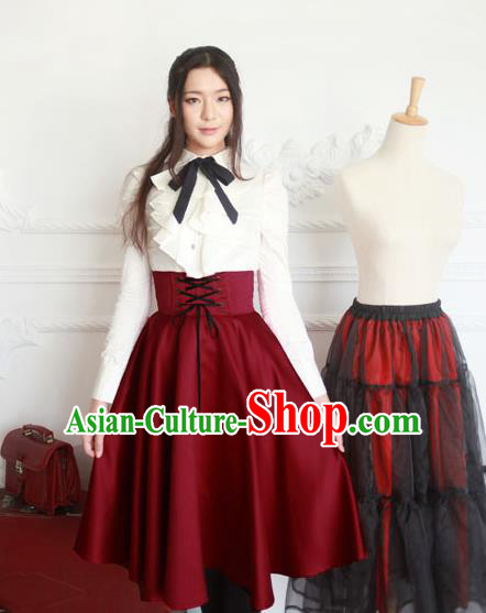 Traditional Classic Elegant Women Costume Fishbone Bust Skirt, Restoring Ancient Princess Drawnstring Gothic Giant Swing Skirt for Women
