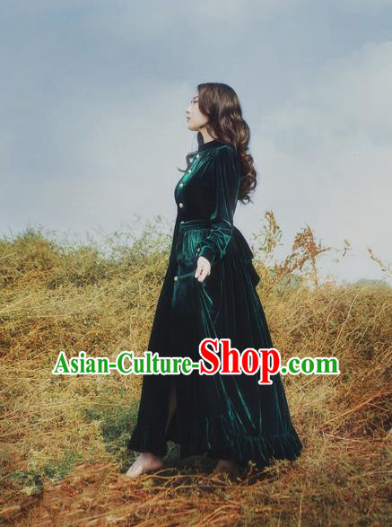 Traditional Classic Elegant Women Costume Palace Velvet One-Piece Dress, Restoring Ancient Princess Royal Long Dress for Women