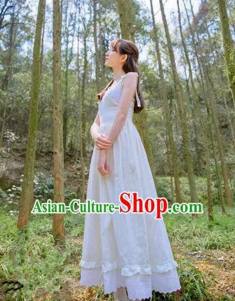 Traditional Classic Elegant Women Costume Cotton One-Piece Dress, Restoring Ancient Princess Cotton Embroidered Lace Long White Dress for Women