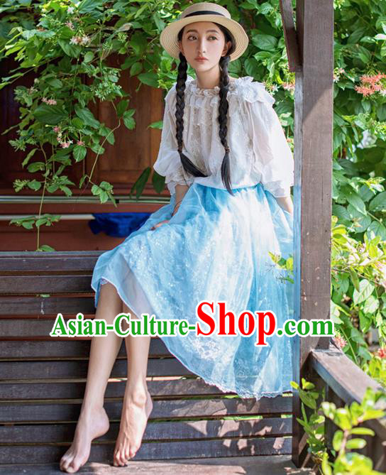 Traditional Classic Elegant Women Costume Bust Skirt, Restoring Ancient Princess Embroidery Lace Organza Giant Swing Skirt for Women