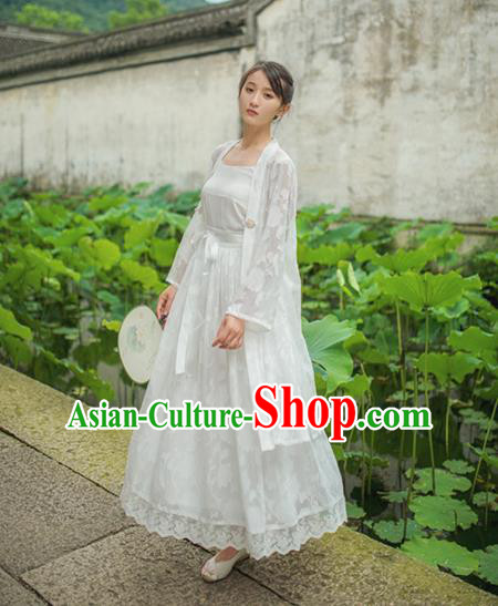 Traditional Classic Chinese Elegant Women Costume Hanfu Smock, Restoring Ancient Han Dynasty Shadow Cardigan for Women