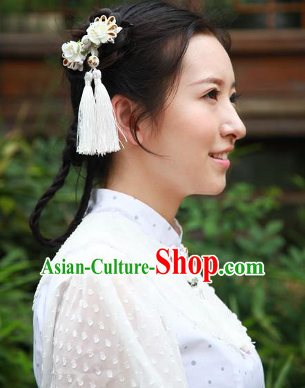 Traditional Classic Chinese Ancient Hair Accessories Hairpin, Elegant Hanfu Plate Buttons Tassels Hair Claw for Women
