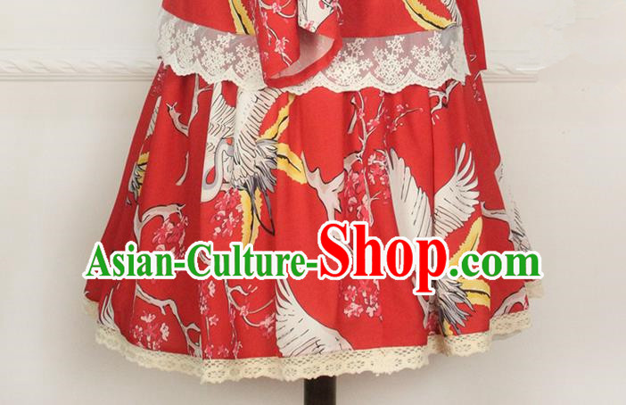 Traditional Japanese Restoring Ancient Kimono Costume Bust Skirt, China Red Modified Short Skirt for Women
