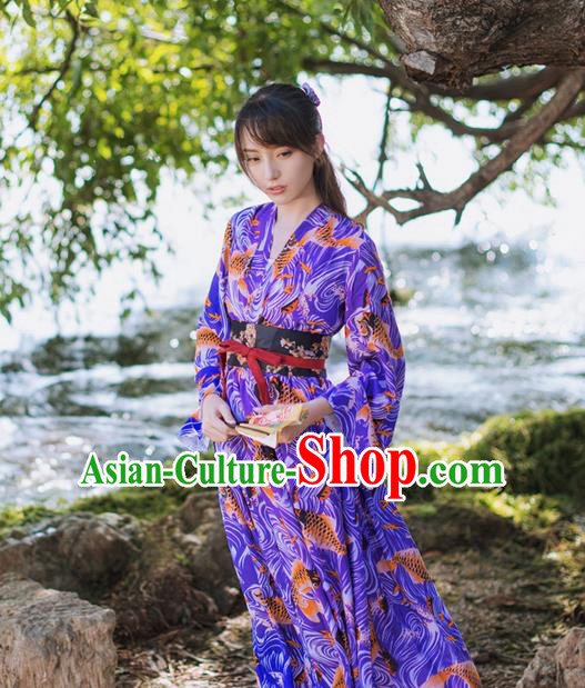 Traditional Japanese Restoring Ancient Kimono Costume Fancy Carp One-Piece Dress, China Modified Cross Collar Silk Dress for Women