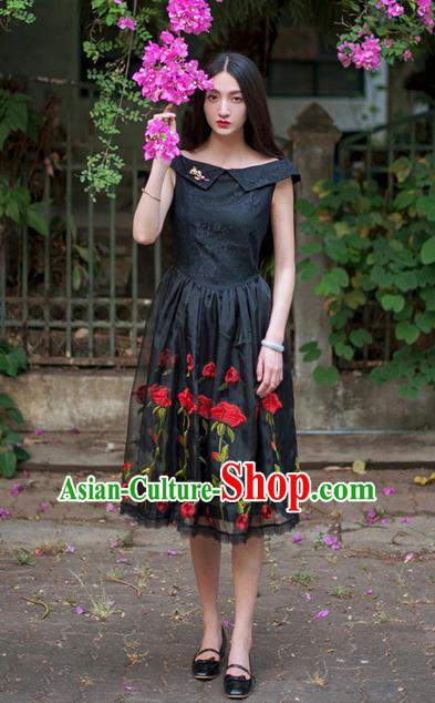 Traditional Classic Elegant Women Costume Organza One-Piece Dress, Restoring Ancient Embroidered Lace Dress for Women
