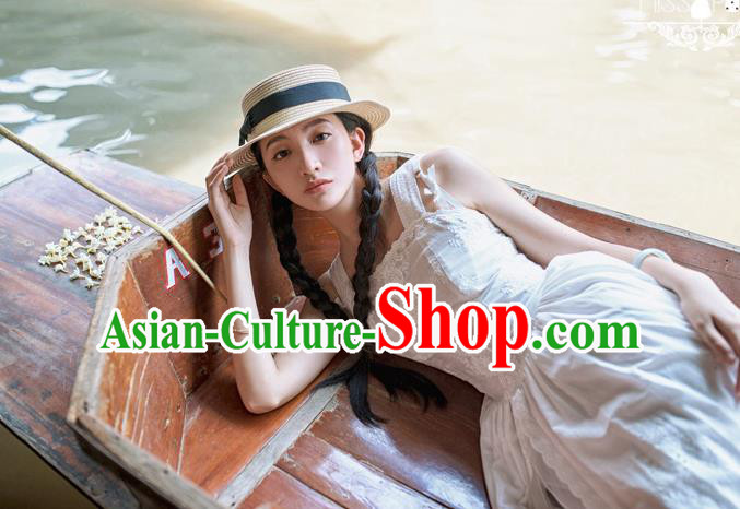 Traditional Classic Elegant Women Costume Cotton One-Piece Dress, Restoring Ancient Embroidered Pierced Dress for Women