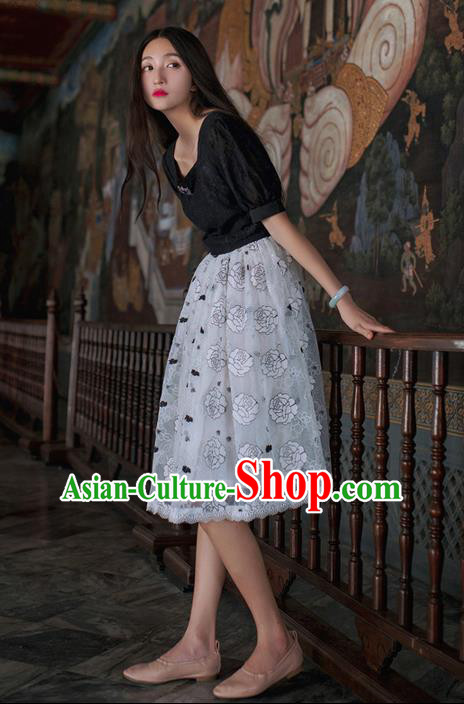 Traditional Classic Elegant Women Costume Bust Skirt, Restoring Ancient Princess Embroidered Lace Giant Swing Skirt for Women