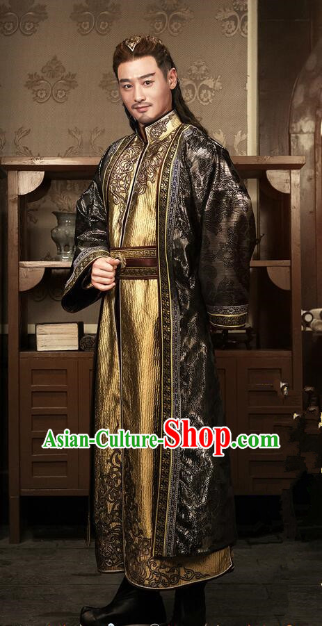 Traditional Chinese Ancient Old Men Embroidered Costumes, Ancient Chinese Cosplay Majesty Swordsmen Knight Costume Complete Set for Men
