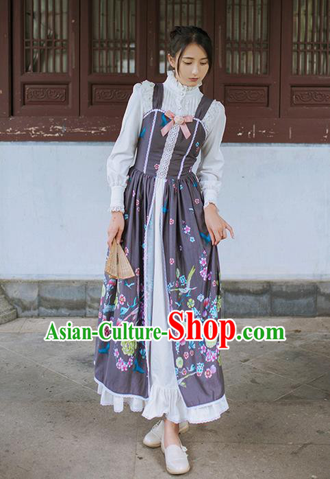 Traditional Classic Chinese Elegant Women Costume Crane One-Piece Dress, Chinese Cheongsam Restoring Ancient Princess Long Braces Skirt for Women
