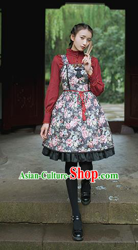Traditional Classic Chinese Elegant Women Costume One-Piece Dress, Chinese Cheongsam Restoring Ancient Princess Tassels Dress for Women