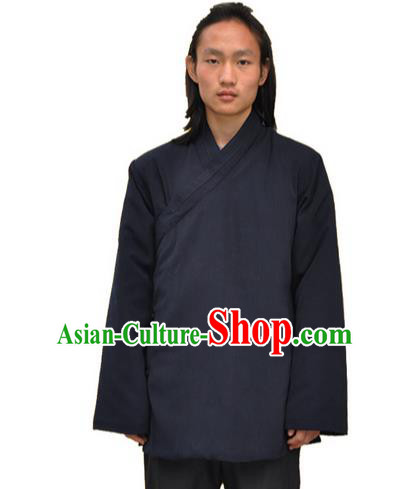 Traditional Chinese Yin Yang Wudang Mountain Taoist Clothes Linen Cotton Wadded Robe Slant Opening Shirt Supplies Tai Chi Coat for Men