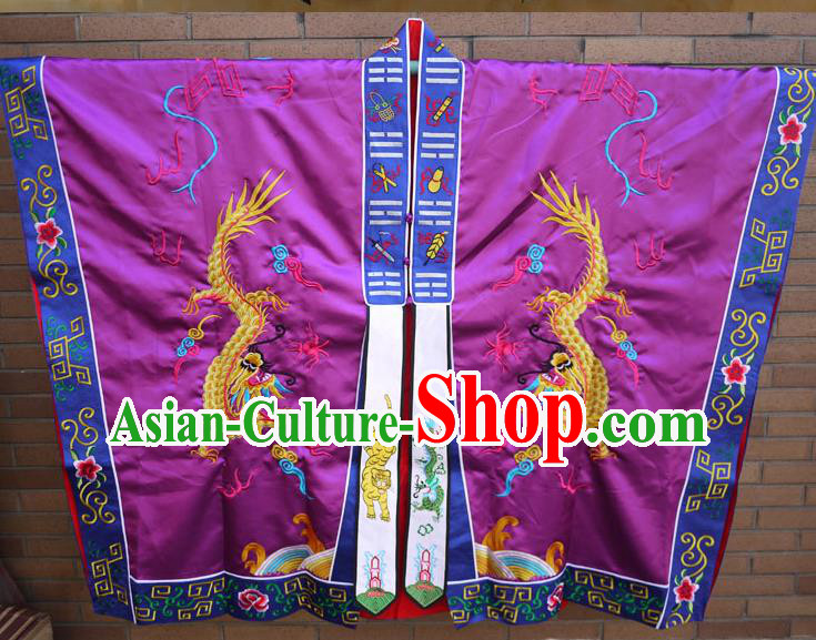 Traditional Chinese Wudang Uniform Taoist Cassock Robes Silk Embroidery Double Dragons Robe Ssangyong Robe for Men