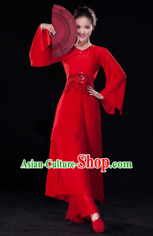 Traditional Chinese Classical Ink Painting Yangko Dance Dress, Yangge Fan Dancing Costume, Folk Dance Yangko Costume For Women