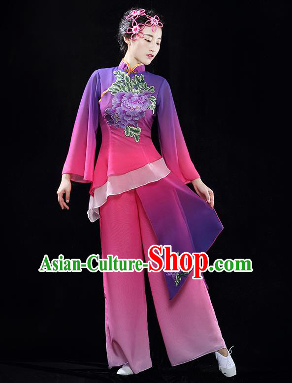 Traditional Chinese Classical Yangko Dance Dress, Yangge Fan Dancing Costume Suits, Folk Dance Yangko Costume for Women