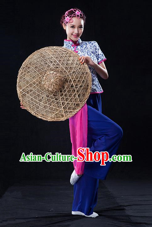 Traditional Chinese Classical Yangko Blue and White Porcelain Dance Clothing, Yangge Fan Dancing Costume Suits, Folk Dance Yangko Costume for Women