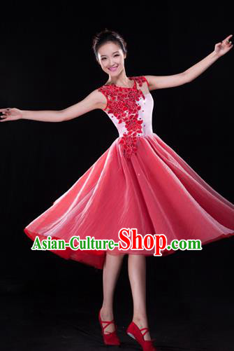 Traditional Chinese Classical Modern Dance Bubble Dress, Yangge Fan Dancing Costume Chorus Suits, Folk Dance Yangko Costume for Women