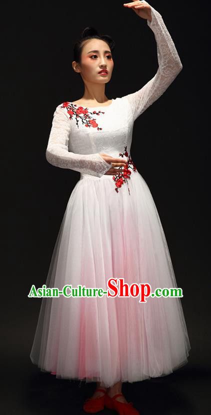 Traditional Chinese Classic Stage Performance Chorus Modern Dance Costumes Bubble Dress, Chorus Competition Costume, Compere Costumes for Women