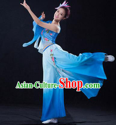 Traditional Chinese Classical Yangko Umbrella Dance Dress, Yangge Fan Dancing Costume Umbrella Dance Suits, Folk Dance Yangko Costume for Women