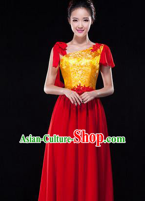 Traditional Chinese Classic Stage Performance Chorus Singing Group Dress Folk Dance Costumes, Chorus Competition Costume, Compere Costumes for Women