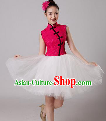 Traditional Chinese Classic Stage Performance Chorus Folk Dance Costumes Bubble Dress, Chorus Competition Costume, Compere Costumes for Women