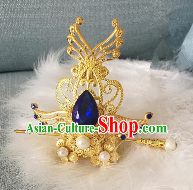 Traditional Chinese Ancient Jewelry Accessories, Ancient Chinese Imperial Princess Hairpin, Prince Beam Hair Crown Hair Tuinga for Women for Men