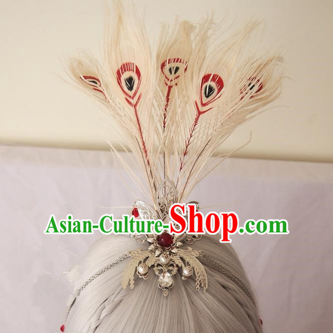 Traditional Chinese Ancient Jewelry Accessories, Ancient Chinese Han Dynasty Imperial Princess Hairpin, Prince Beam Peacock Feathers Hair Crown Hair Tuinga for Women for Men