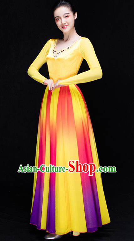 Traditional Chinese Classic Stage Performance Chorus Colorful Folk Dance Costumes Dress, Chorus Competition Costume, Compere Costumes for Women