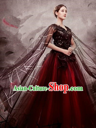 Traditional Chinese Ancient Emperess Costumes, Chinese Teleplay Ten great III of peach blossom Role Han Dynasty Imperial Emperess Queen Wedding Embroidery Clothes Complete Set for Women
