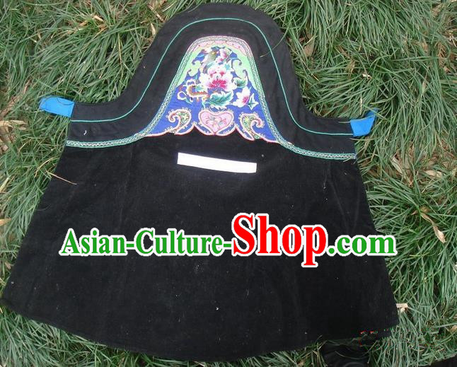 Traditional Chinese Miao Nationality Dancing Costume Apron, Hmong Female Folk Dance Ethnic Chest Wrap, Chinese Minority Nationality Handmade Embroidery Waist Pack for Women