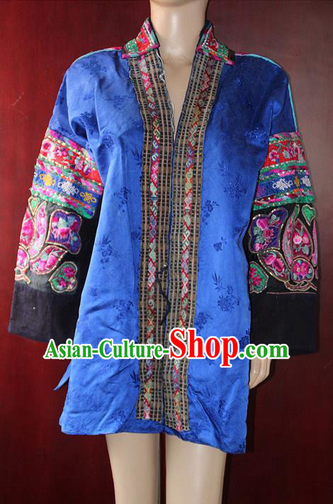 Traditional Chinese Miao Nationality Dancing Costume, Hmong Female Folk Dance Ethnic Blouse, Chinese Minority Nationality Handmade Embroidery Costume for Women
