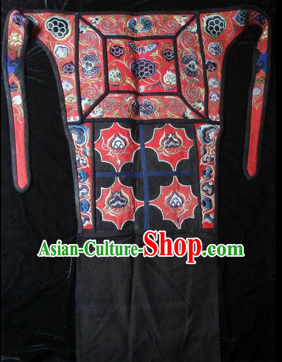Traditional Chinese Miao Nationality Dancing Costume Apron, Hmong Female Folk Dance Ethnic Pinafore, Chinese Minority Nationality Handmade Embroidery Waist Pack for Women