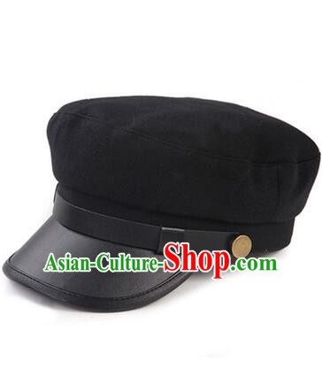 Chinese Traditional Style Wu Si Period Student Hat Play Stage Flat Hat Men Sun Yat Sen's Uniform Hat Black