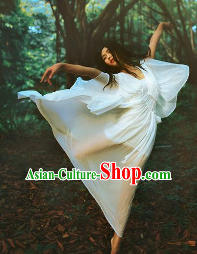 Traditional Classic Women Clothing, Traditional Classic White Chiffon Evening Dress Restoring Woolen Garment Skirt Braces Skirt, Long Chiffon Skirt