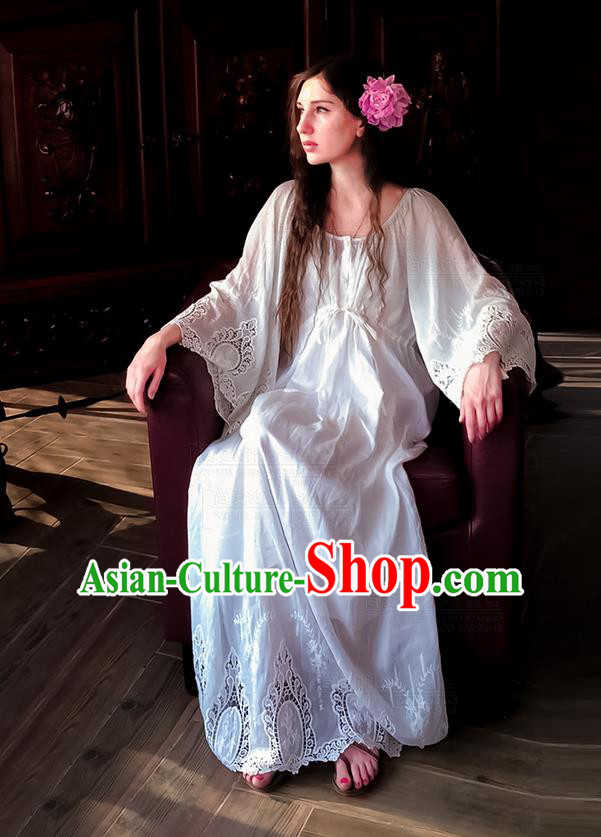 Traditional Classic Women Clothing, Traditional Classic White Silk Cotton Pajamas Heavy Lace Embroidery Evening Dress Restoring Garment Skirt Braces Skirt