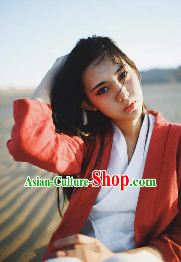 Traditional Classic Women Clothing, Traditional Chinese Classic Yarn Hanfu Jacket White Han Dynasty Blouse