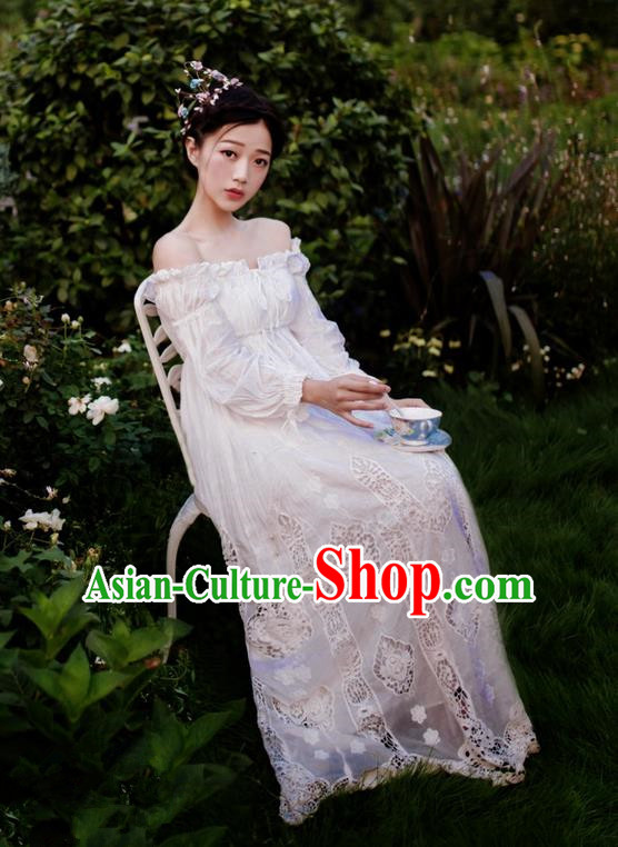 Traditional Classic Women Clothing, Traditional Classic White Cotton Pajamas Heavy Lace Embroidery Evening Dress Restoring Garment Skirt Braces Skirt