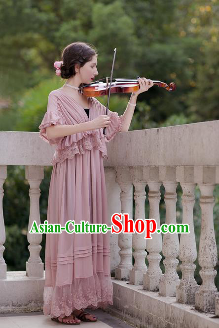 Traditional Classic Women Clothing, Traditional Classic Pink Silk Pajamas Heavy Lace Embroidery Evening Dress Restoring Garment Skirt Braces Skirt