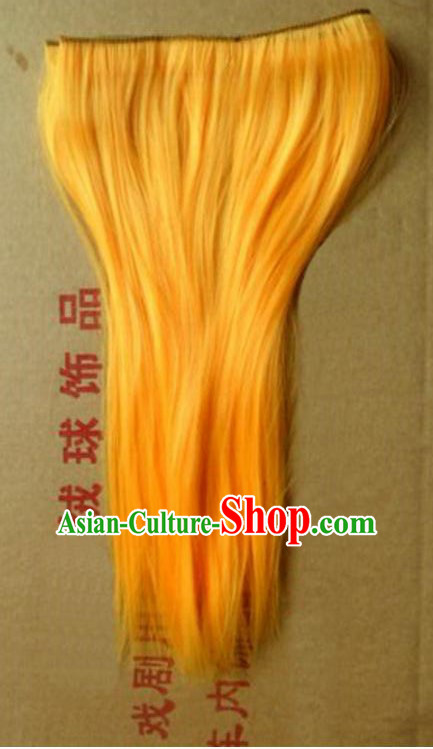 Lion Dance Accessory Dragon Dance Falsie Artificial Whiskers for Peking Opera Yellow