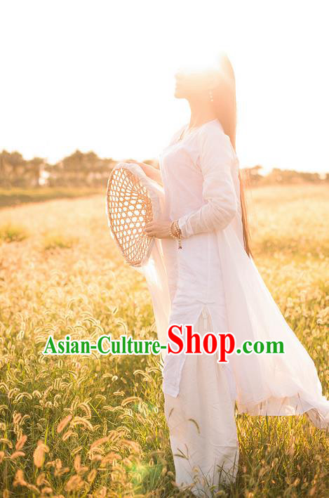 Traditional Classic Women Costumes, Traditional Classic Chinese Style Restoring Ancient White Cardigan Wearing Hanfu Shawl