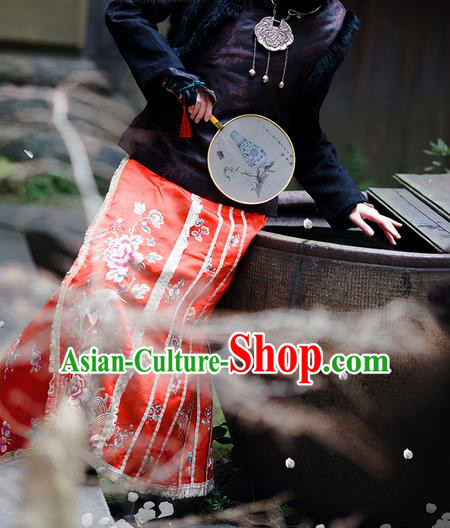 Traditional Classic Women Clothing, Traditional Classic Chinese Qing Dynasty Republic Of China Old Handmade Embroidered Silk Horse Skirt Bust Skirt